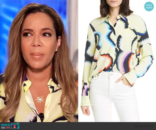 Jayne High/Low Stretch Silk Shirt by A.L.C. worn by Sunny Hostin  on The View