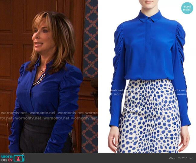 Ruched Sleeve Silk Blouse by Akris punto worn by Kate Roberts (Lauren Koslow) on Days of our Lives