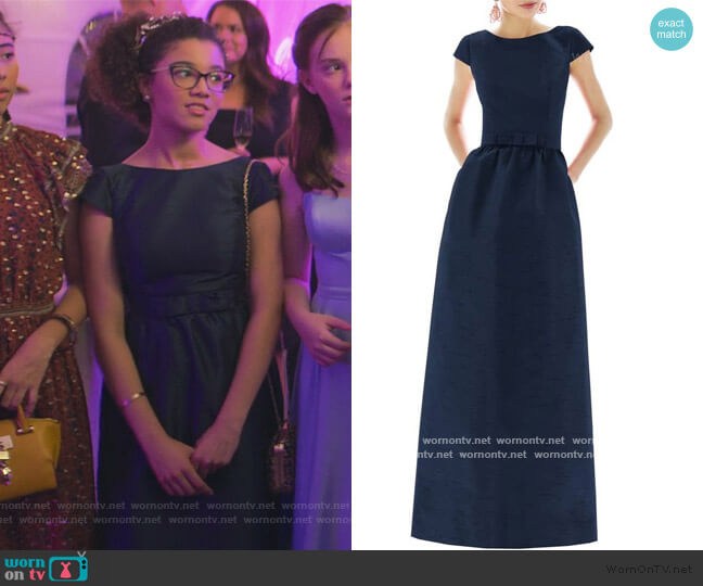 Cap Sleeve A-line Gown by Alfred Sung worn by Mary-Anne Spier (Malia Baker) on The Baby-Sitters Club