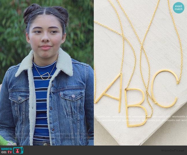 Block Letter Monogram Necklace by Anthropologie worn by Dawn Schafer (Xochitl Gomez) on The Baby-Sitters Club