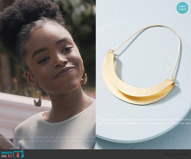 Folded Crescent Demi-Hoop Earrings by Anthropologie worn by Zora Greenleaf (Lovie Simone) on Greenleaf