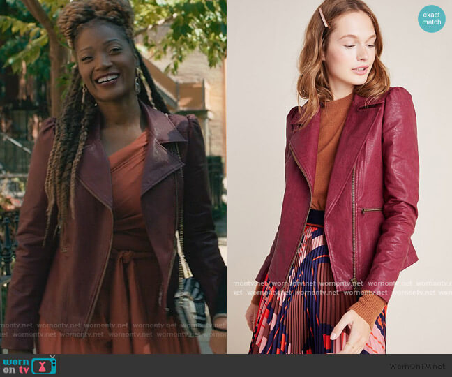 Petula Puff-Sleeved Moto Jacket by Anthropologie worn by Jada Washington (Yolonda Ross) on The Chi
