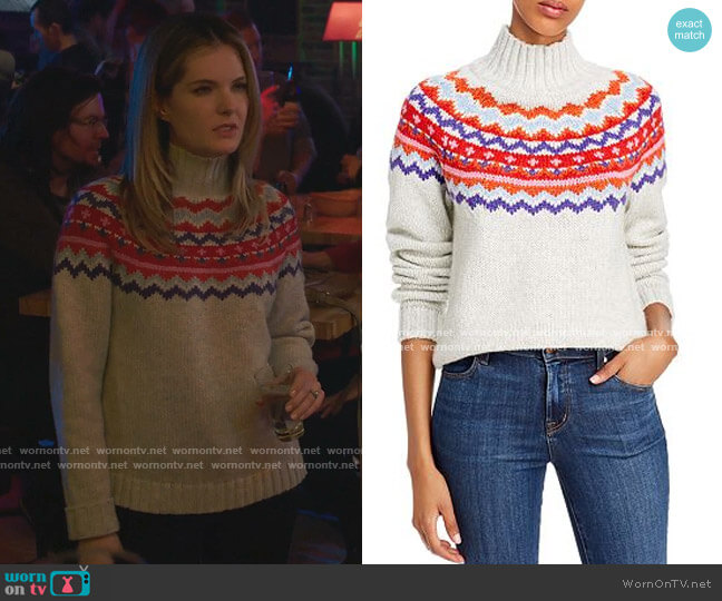Fair Isle Turtleneck Sweater by Aqua worn by Sutton (Meghann Fahy) on The Bold Type