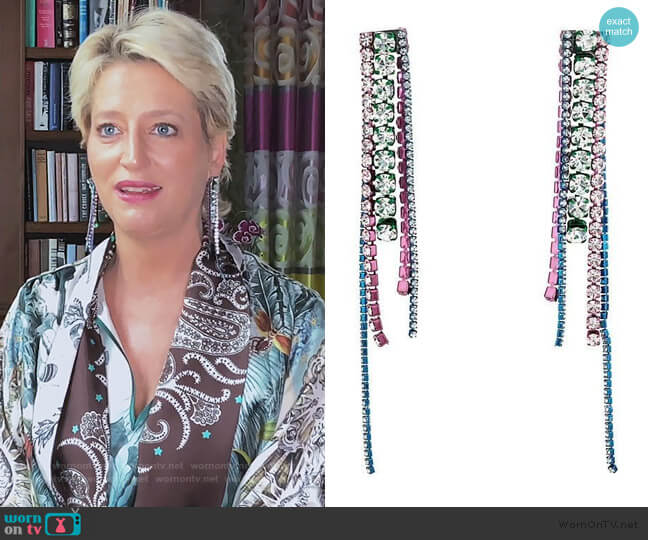 Chandelier Earrings by Area worn by Dorinda Medley  on The Real Housewives of New York City