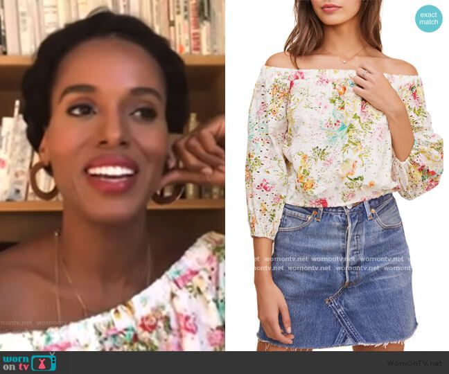 Danya Off the Shoulder Eyelet Top by ASTR The Label worn by Kerry Washington on The View