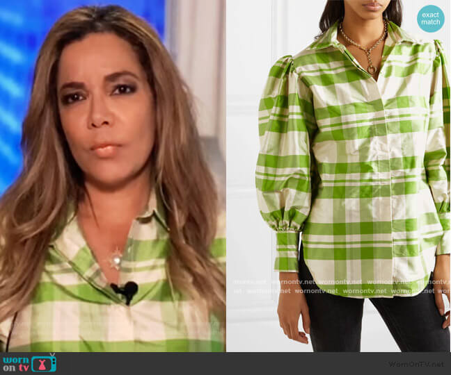 Checked silk-charmeuse blouse by Avavav worn by Sunny Hostin  on The View