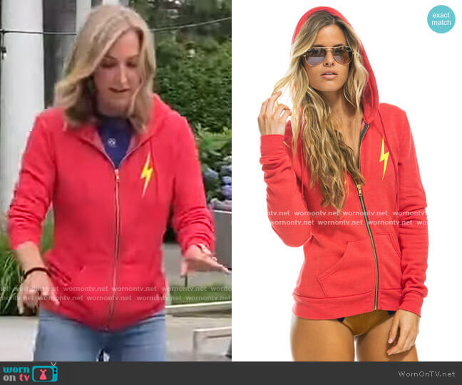 Bolt 2 Zip Hoodie by Aviator Nation worn by Lara Spencer  on Good Morning America