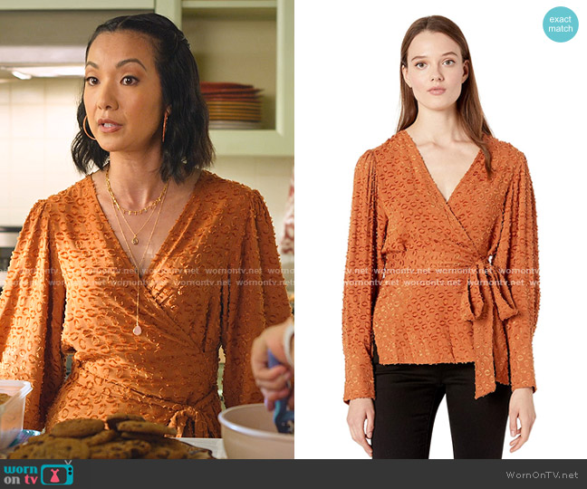 Pleated Shoulder Wrap Top by Bcbgmaxazria worn by Jae W. Suh on Never Have I Ever
