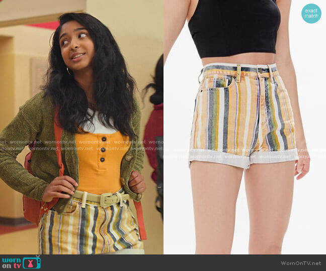 Washed Striped Denim Shorts by BDG at Urban Outfitters worn by Devi Vishwakumar (Maitreyi Ramakrishnan) on Never Have I Ever