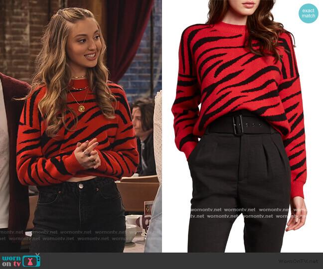 Zebra Pattern Sweater by Bardot worn by Brooke Bishop (Bella Podaras) on The Expanding Universe of Ashley Garcia