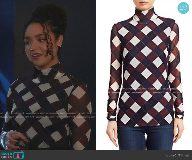 Jodi Check Mesh Top by Baum und Pferdgarten worn by Kat Edison (Aisha Dee) on The Bold Type