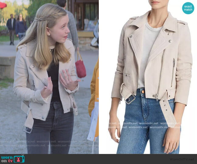 Suede Moto Jacket by Blank NYC worn by Stacey McGill (Shay Rudolph) on The Baby-Sitters Club