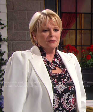 Bonnie's black paisley print ruffle blouse on Days of our Lives