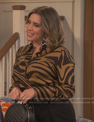 Brie's khaki zebra print blouse on United We Fall