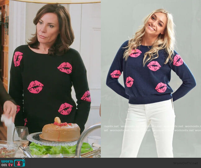 Lip Print Sweater by Brodie worn by Luann de Lesseps  on The Real Housewives of New York City
