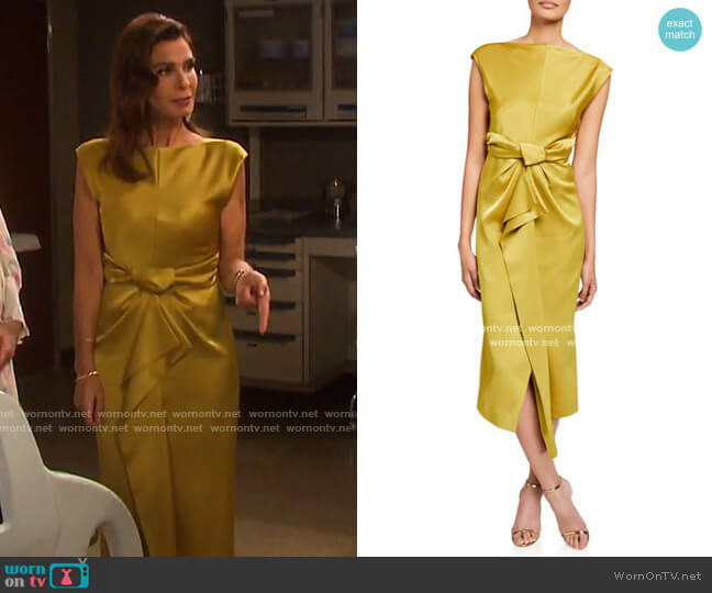 Bias-Cut Cap-Sleeve Satin Dress by Camilla and Marc worn by Hope Williams (Kristian Alfonso) on Days of our Lives