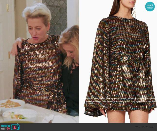 Rainbow Sequin Mini Dress by Caroline Constas worn by Dorinda Medley  on The Real Housewives of New York City