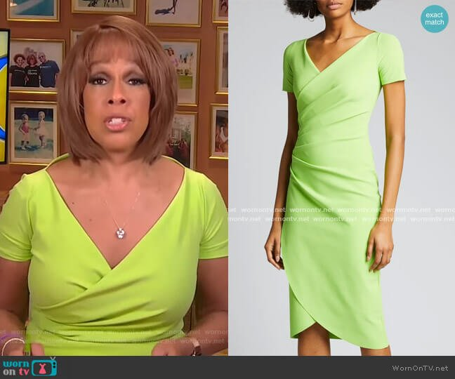 V-Neck Short-Sleeve Wrap-Front Dress by Chiara Boni La Petite Robe worn by Gayle King  on CBS This Morning