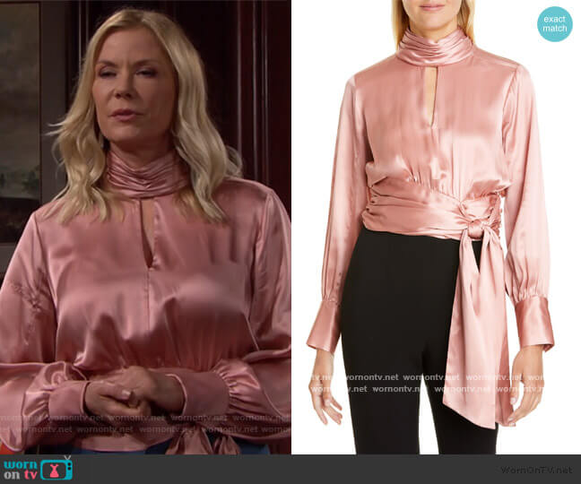 Jaqueline Silk Top by Cinq a Sept worn by Brooke Logan (Katherine Kelly Lang) on The Bold & the Beautiful