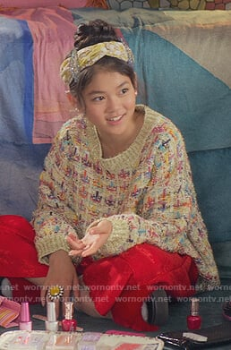 Claudia's metallic multicolored check sweater on The Baby-Sitters Club