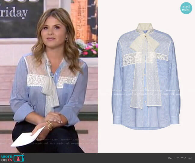 Cotton and Silk Shirt by RED Valentino worn by Jenna Bush Hager  on Today