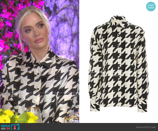 Houndstooth Twill Shirt by Daniele Carlotta worn by Erika Girardi  on The Real Housewives of Beverly Hills