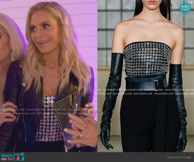 Metal Embroidered Bustier by David Koma worn by Dorit Kemsley  on The Real Housewives of Beverly Hills
