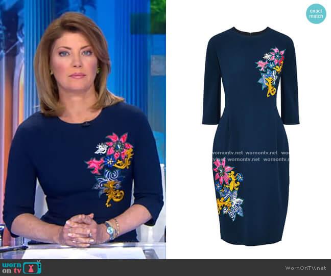 Disney Appliquéd Crepe Dress by Mary Katrantzou worn by Norah O'Donnell  on CBS Evening News
