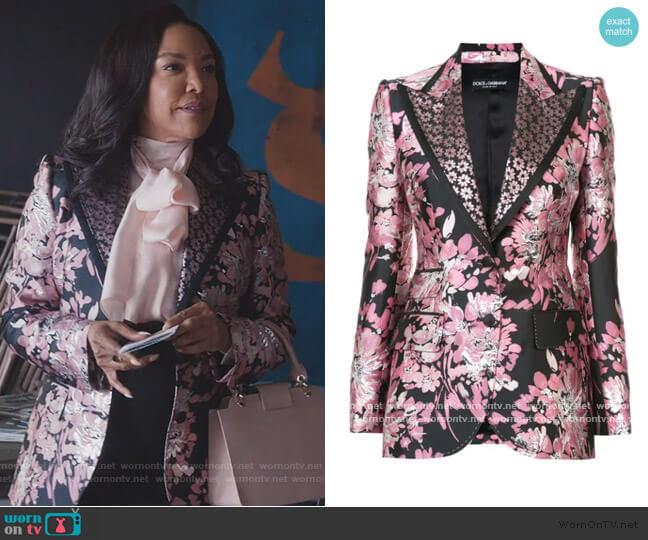 floral lurex jacquard jacket by Dolce and Gabbana worn by Lady Mae Greenleaf (Lynn Whitfield) on Greenleaf