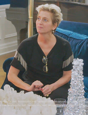 Dorinda's black metallic fringe tee on The Real Housewives of New York City