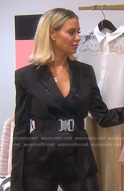 Dorit's black belted satin blazer on The Real Housewives of Beverly Hills