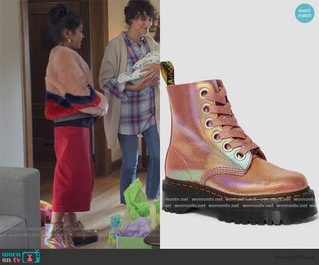 1651 Molly Iridescent Leather Platform Pink Boots by Doc Martens worn by Claudia Kishi (Momona Tamada) on The Baby-Sitters Club