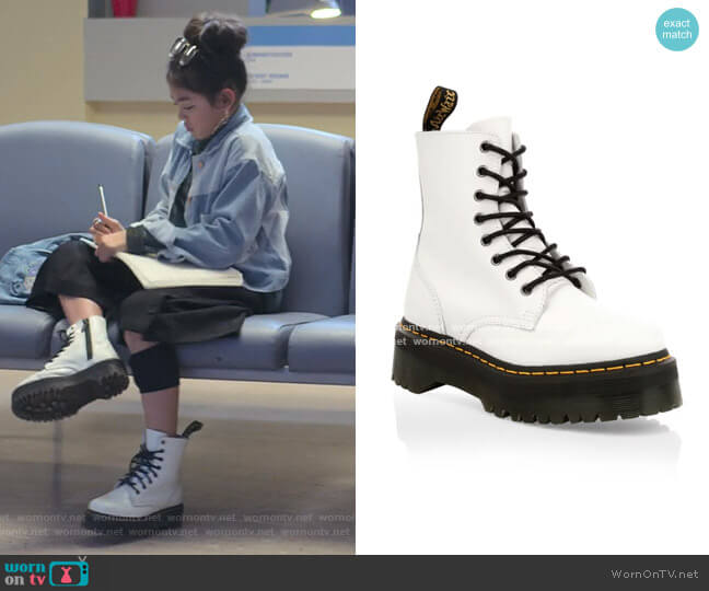 Jadon Leather Combat Boots by Dr. Martens worn by Claudia Kishi (Momona Tamada) on The Baby-Sitters Club