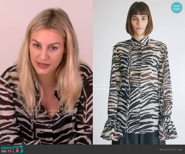 Cotton Zebra Ruffle Sleeve Blouse by Dries van Noten worn by Morgan Stewart  on E! News