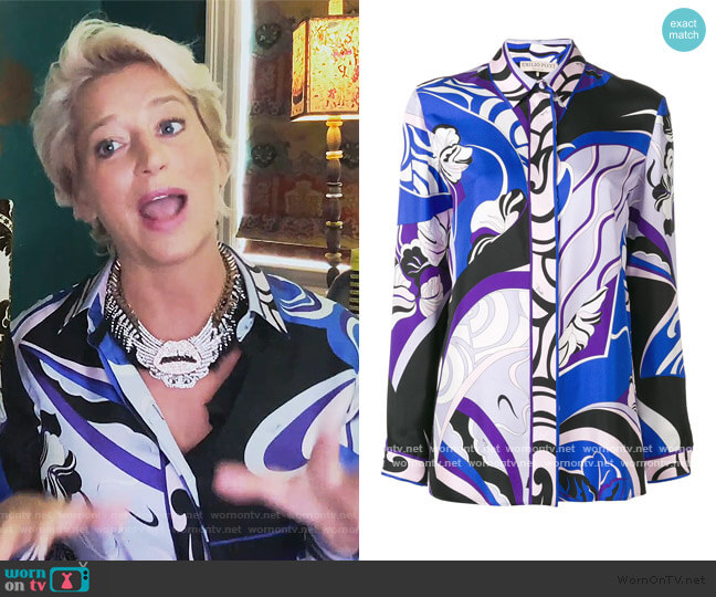 Hanami Print Blouse by Emilio Pucci worn by Dorinda Medley  on The Real Housewives of New York City