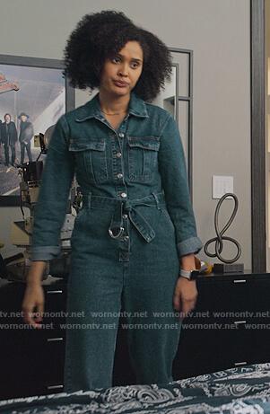 Fabiola's denim belted jumpsuit on Never Have I Ever