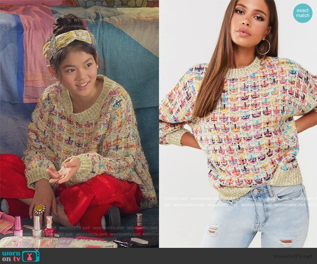 Multicolored Ribbed Sweater by Forever 21 worn by Claudia Kishi (Momona Tamada) on The Baby-Sitters Club