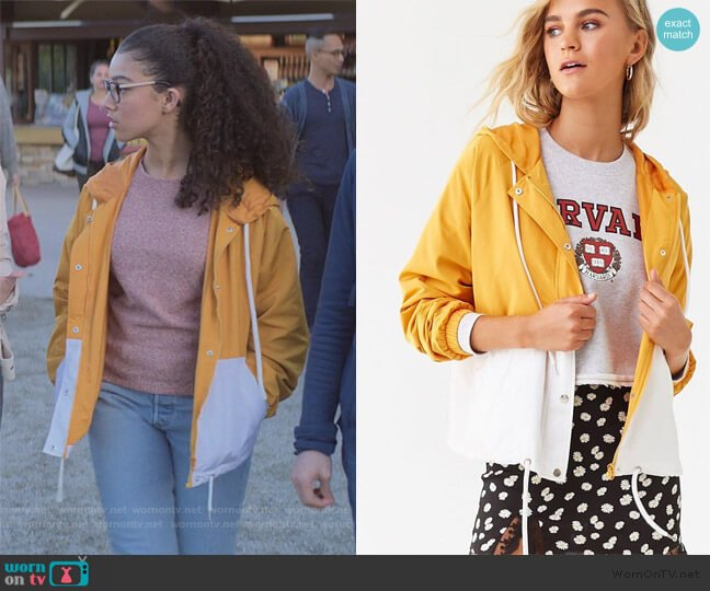 Yellow Colorblock Raglan Windbreaker by Forever 21 worn by Mary-Anne Spier (Malia Baker) on The Baby-Sitters Club