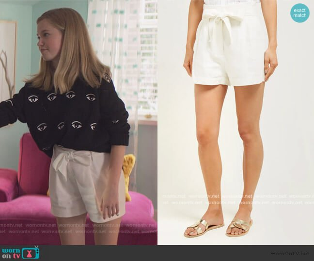 High-rise linen-blend shorts by Frame worn by Stacey McGill (Shay Rudolph) on The Baby-Sitters Club