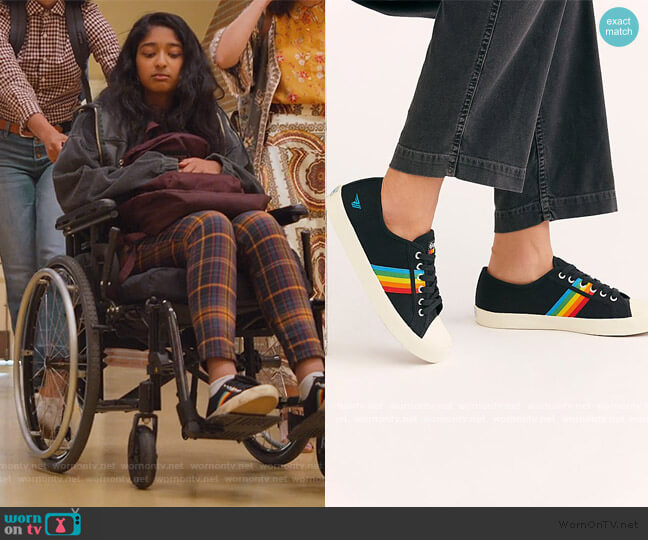 Gola Coaster Rainbow Sneakers by Free People worn by Devi Vishwakumar (Maitreyi Ramakrishnan) on Never Have I Ever