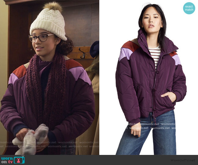 Heidi Ski Puffer Jacket by Free People worn by Mary-Anne Spier (Malia Baker) on The Baby-Sitters Club