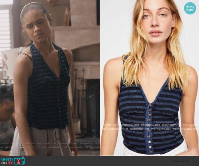 Mylo Stripe Halter Top by Free People worn by Sophia Greenleaf (Desiree Ross) on Greenleaf