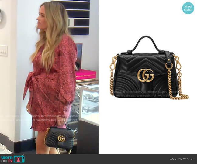 GG Marmont Mini Chevron Leather Satchel Bag by Gucci worn by Teddi Mellencamp Arroyave  on The Real Housewives of Beverly Hills