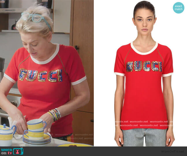 Sequined Cotton Ribbed Jersey T-shirt by Gucci worn by Dorinda Medley  on The Real Housewives of New York City
