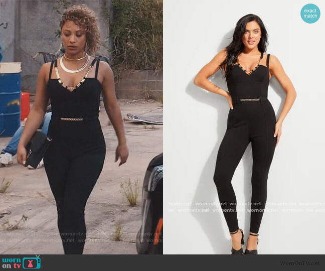 Vika Chain Detail Jumpsuit by Guess worn by Asia'h Epperson on Greenleaf