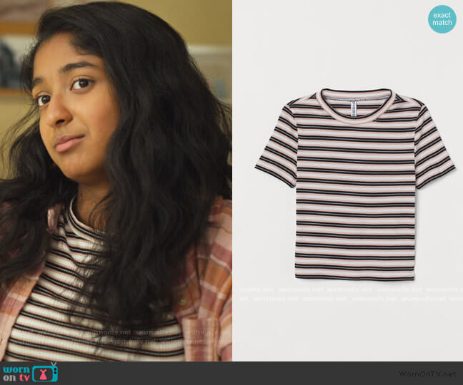 Ribbed Top by H&M worn by Devi Vishwakumar (Maitreyi Ramakrishnan) on Never Have I Ever