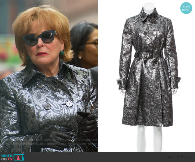 Double Breasted Brocade Coat by Burberry worn by Hadassah Gold (Bette Midler) on The Politician