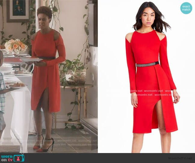 Cold Shoulder Belted Dress by Halston Heritage worn by Kerissa Greenleaf (Kim Hawthorne) on Greenleaf