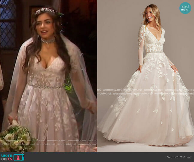 Illusion Sleeve Plunging Ball Gown Wedding Dress by Galina Signature worn by Ciara Brady (Victoria Konefal) on Days of our Lives