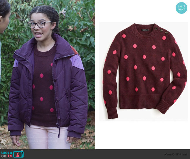 Button Detail Crewneck Sweater by J. Crew worn by Mary-Anne Spier (Malia Baker) on The Baby-Sitters Club